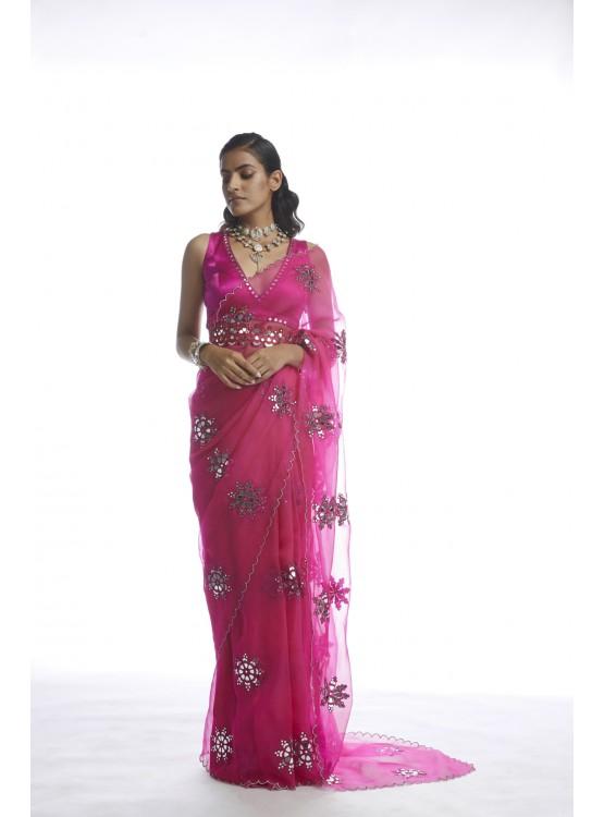Peacock Pink Mirror Cut-work Saree