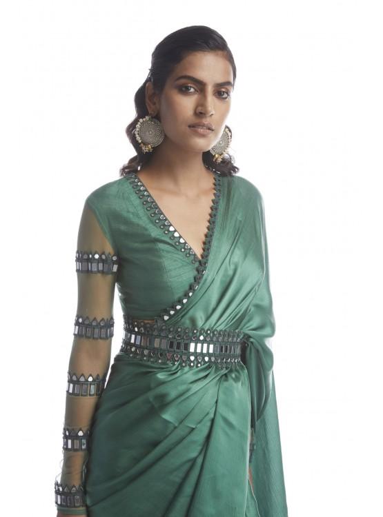 Sage Green Satin Chiffon Saree
