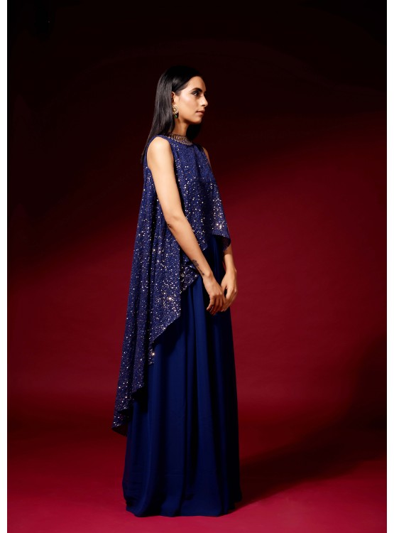 Midnight blue sequined cape set