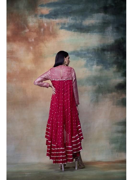 Crimson Red High Low Kurta Dhoti Set