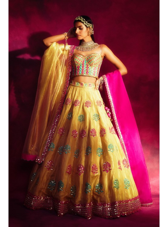 Mughal Boota Gold Shimmer Lehenga Set