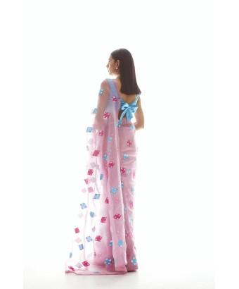 Onion Pink Applique Saree Set