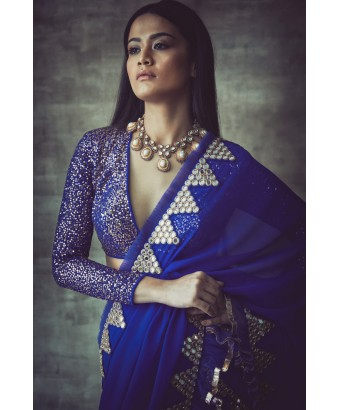 Royal Blue Mirror Border Frill Saree Set