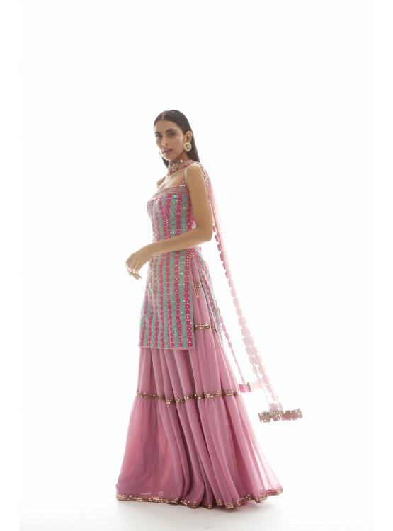 Onion pink Applique Kurta Sharara Set