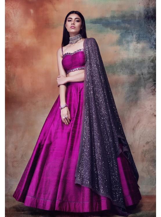 Pinkish Purple Sequined Dupatta Lehenga Set
