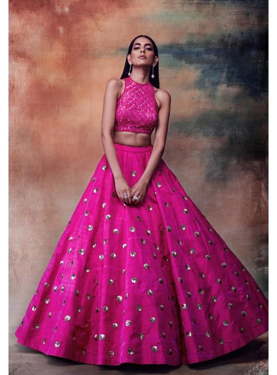 Hot Pink Crop Top Skirt Set