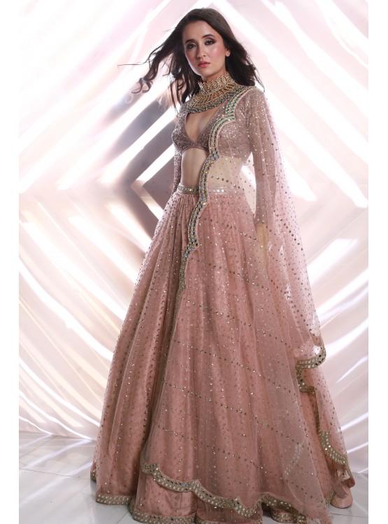 Sequins Scatter Blush Pink Lehenga Set