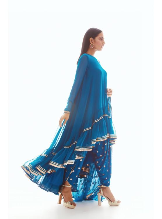 Peacock Blue High Low Kurta Set