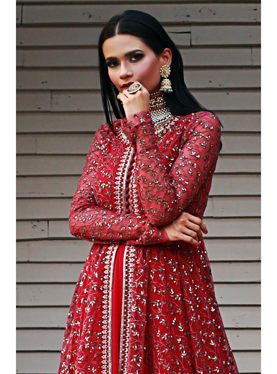 Red Aari Jacket Anarkali