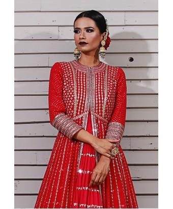 Red Jacket Anarkali