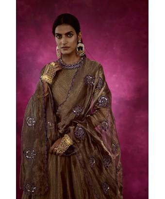 Copper Shimmer Mughal Boota Set