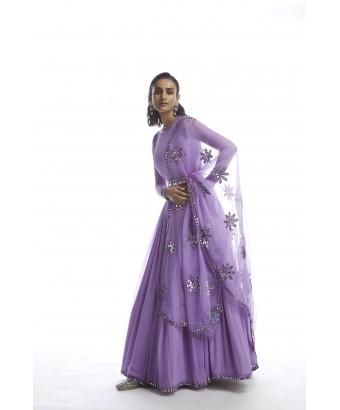 Catnip Purple Chiffon Anarkali Set