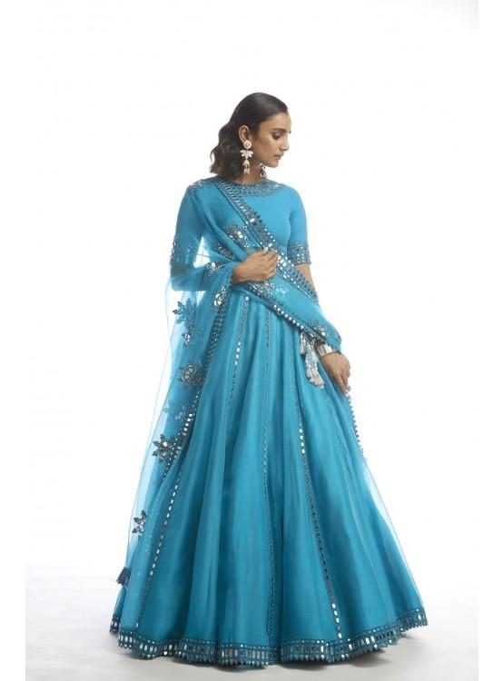 Turquoise Blue Mirror Cut Work  Lehanga Set