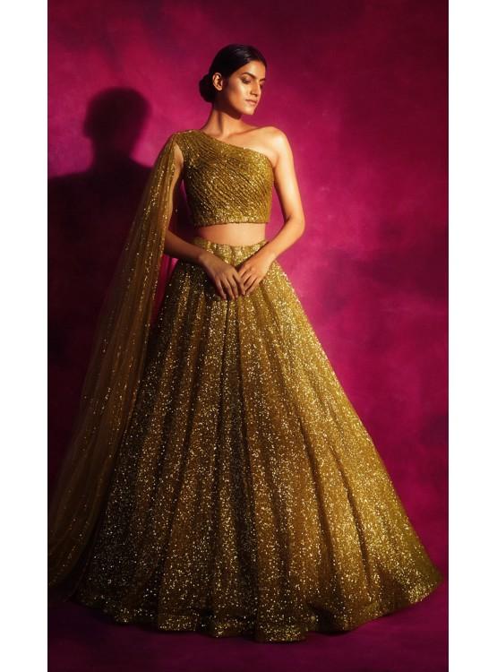 Dull Gold One shoulder Veil Lehenga Set