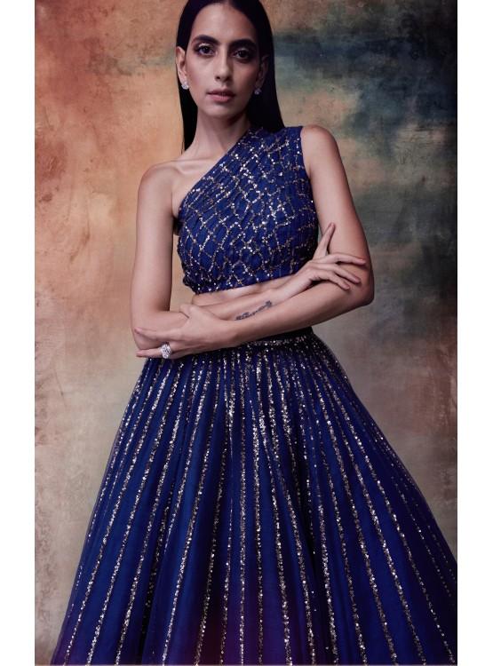 Midnight Blue One Shoulder Crop Top Skirt Set