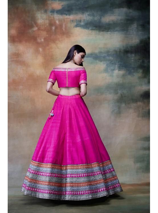 Off shoulder Multi Stripe Border skirt Top set