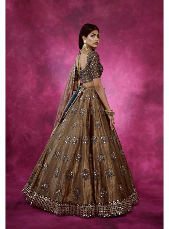 Mughal Boota Copper shimmer Lehenga Set