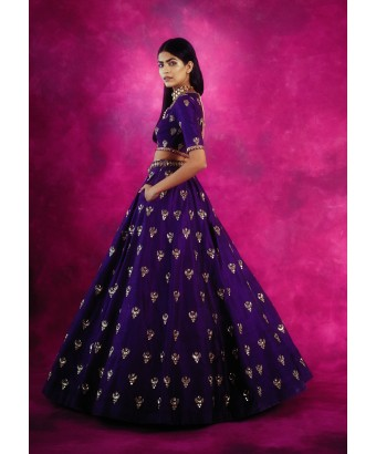 Purple Chand Boota Crop Top Skirt Set