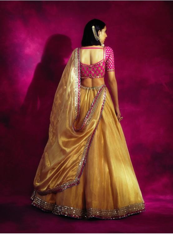 Mughal Boota Fuschia & Gold Lehenga Set