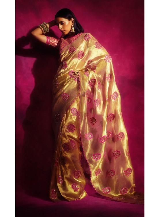 Gold Tissue Applique Saree set