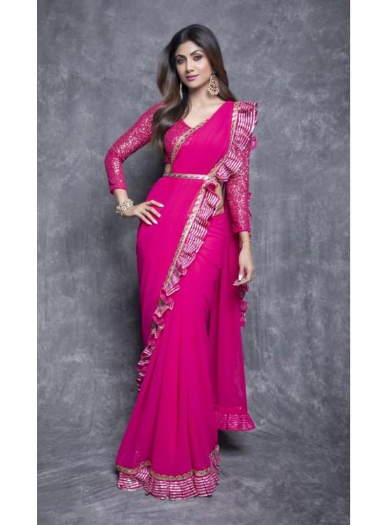 Fuschia Pink Ruffle saree set